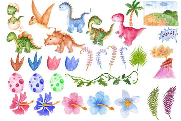 580x387 Watercolor Dinosaur Clipart Graphic By Vivastarkids