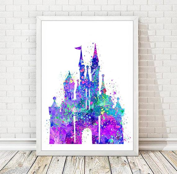 570x561 Disney Castle Watercolor Art Print Disney Cinderella Princess Etsy