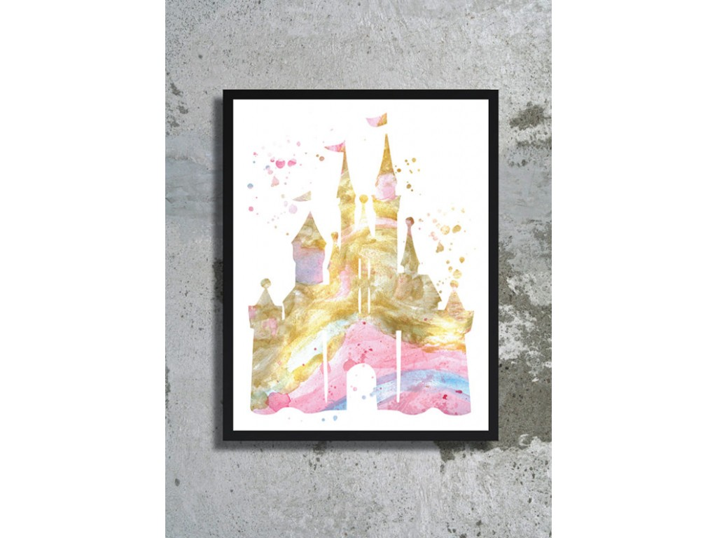 1024x768 Disney Castle Watercolor Art Print Disney Wedding Cinderella Gold
