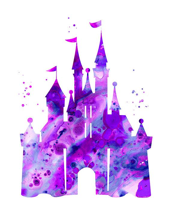 570x713 Purple Cinderella Castle Print, Disney Castle, Princess Castle