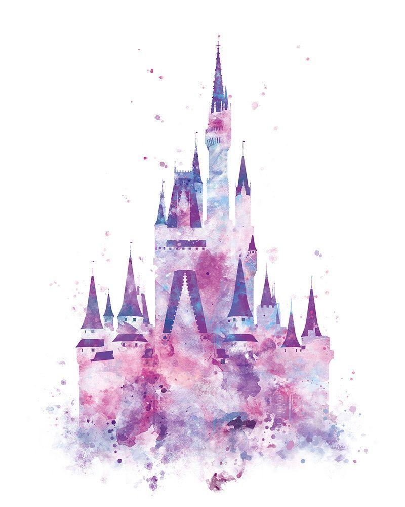 800x1000 Cinderella Castle Art Watercolor Print, Princess Castle, Disney