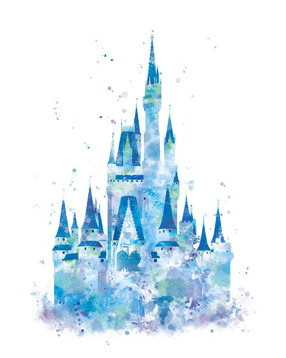 570x713 Cinderella Castle Print Watercolor Princess Castle Disney Etsy