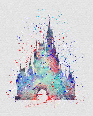 384x480 Cinderella Castle Watercolor Art Disney Cinderella