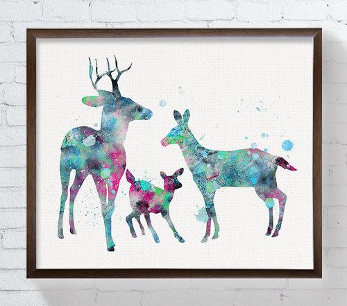 500x441 Doe Buck Fawn Family Watercolor Deer Deer Art By Miaomiaodesign