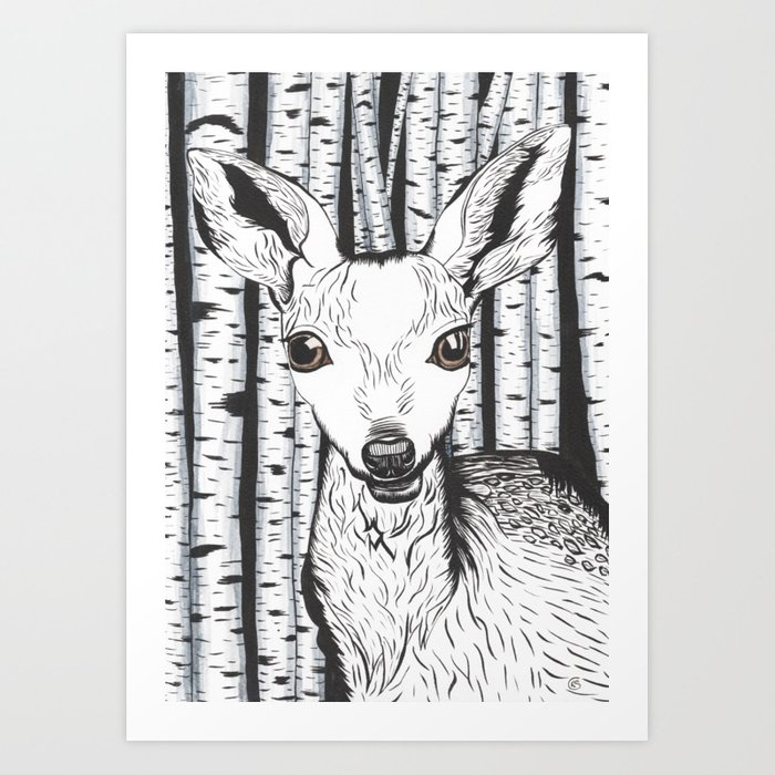 700x700 Ink And Watercolor Black And White Doedeer In The Forest Art