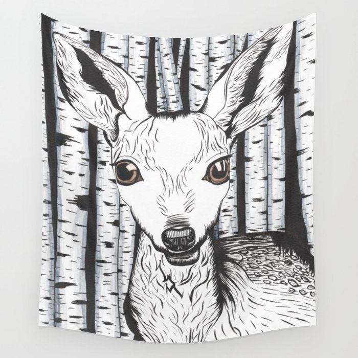 700x700 Ink And Watercolor Black And White Doedeer In The Forest Wall