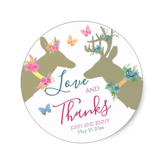 540x540 Love Amp Thanks Watercolor Boho Doe Amp Deer Classic Round Sticker