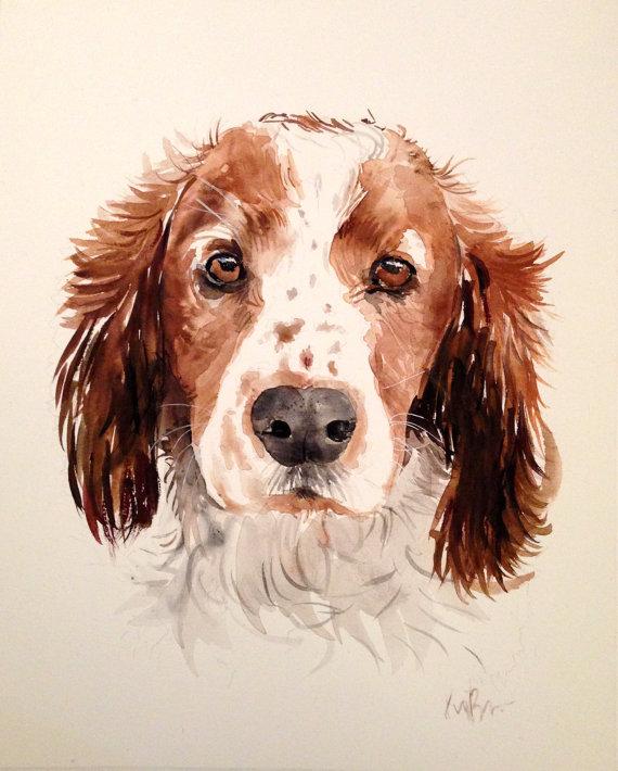 570x710 Custom Pet Portrait. Original Watercolor Painting. Dog Portrait