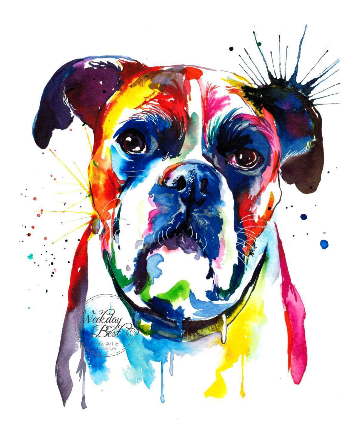 1193x1500 Boxer Dog Painting Lovely Colorful Boxer Dog Art Print Print Of My