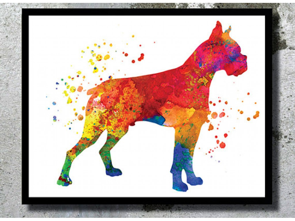 1024x768 Boxer Dog Watercolor Print Dog Art Print Boxer Poster Home Decor