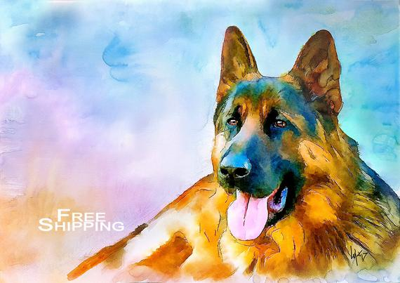 570x403 Watercolor Dog Art Dog Print Dog Painting Dog Portrait Etsy
