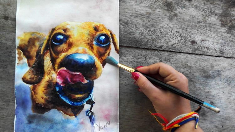 750x422 Watercolor Painting Realistic Dog Portrait, Step By Step Udemy