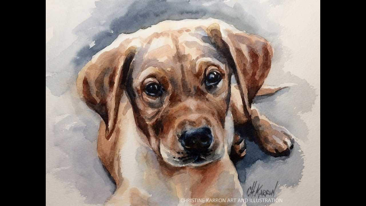 1280x720 Watercolor Painting Puppy Dog Portrait Demo By Ch.karron