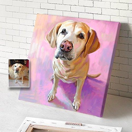 500x500 Custom Dog Portrait On Canvas, Portrait From Photo