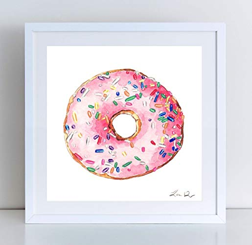 515x500 Donut Art Painting Pink Print Of Watercolor Pink