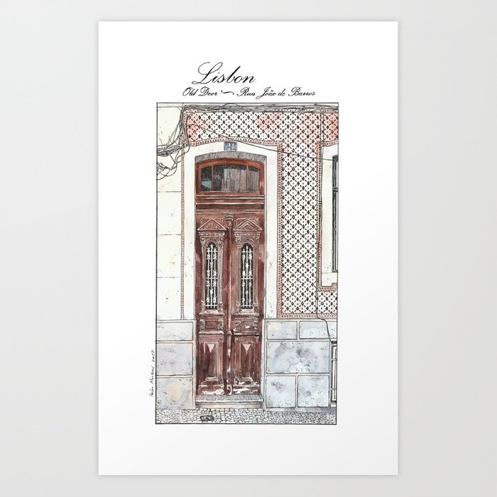 700x700 Old Door 2 Urban Landscape Lisbon Portugal Watercolor Art Print By