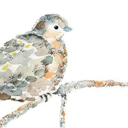430x430 Bird Nursery Art Print, Dove Watercolor Painting