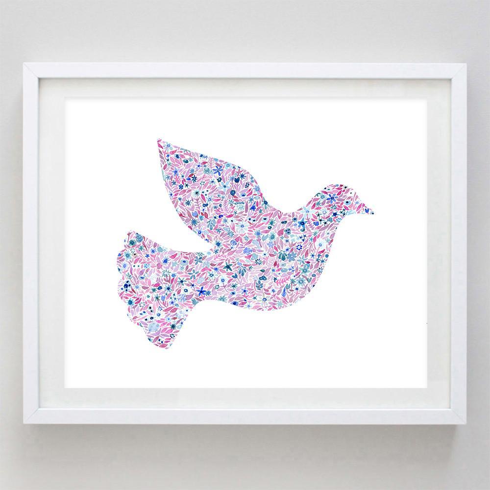 1000x1000 Dove Floral Watercolor Art Print