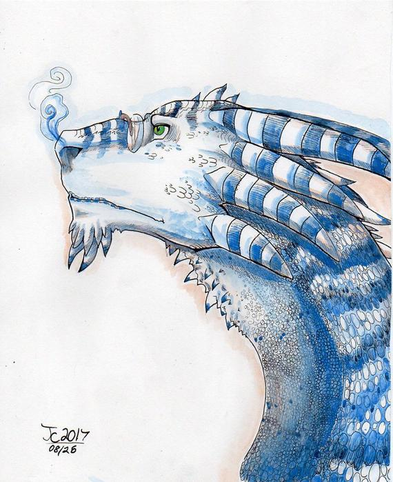 570x699 Dragon Art Blue And White Watercolor Dragon Painting Etsy