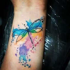 Watercolor Dragonfly Tattoo