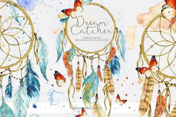 570x379 Dreamcatcher Clipart Watercolor Dream Catchers Native America Etsy