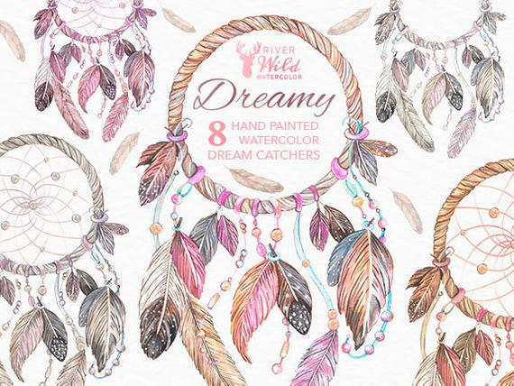 570x428 Dreamcatcher Watercolor Clipart Dream Catcher Native American Etsy