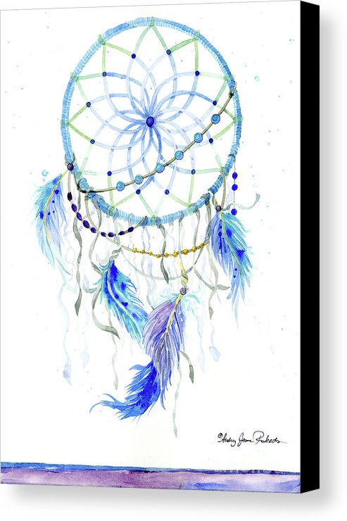 493x740 Watercolor Dream Catcher Lavender Blue Feathers 1 Canvas Print