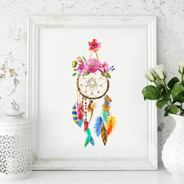 640x640 Watercolor Dream Catcher Wall Art Canvas Painting Home Decor