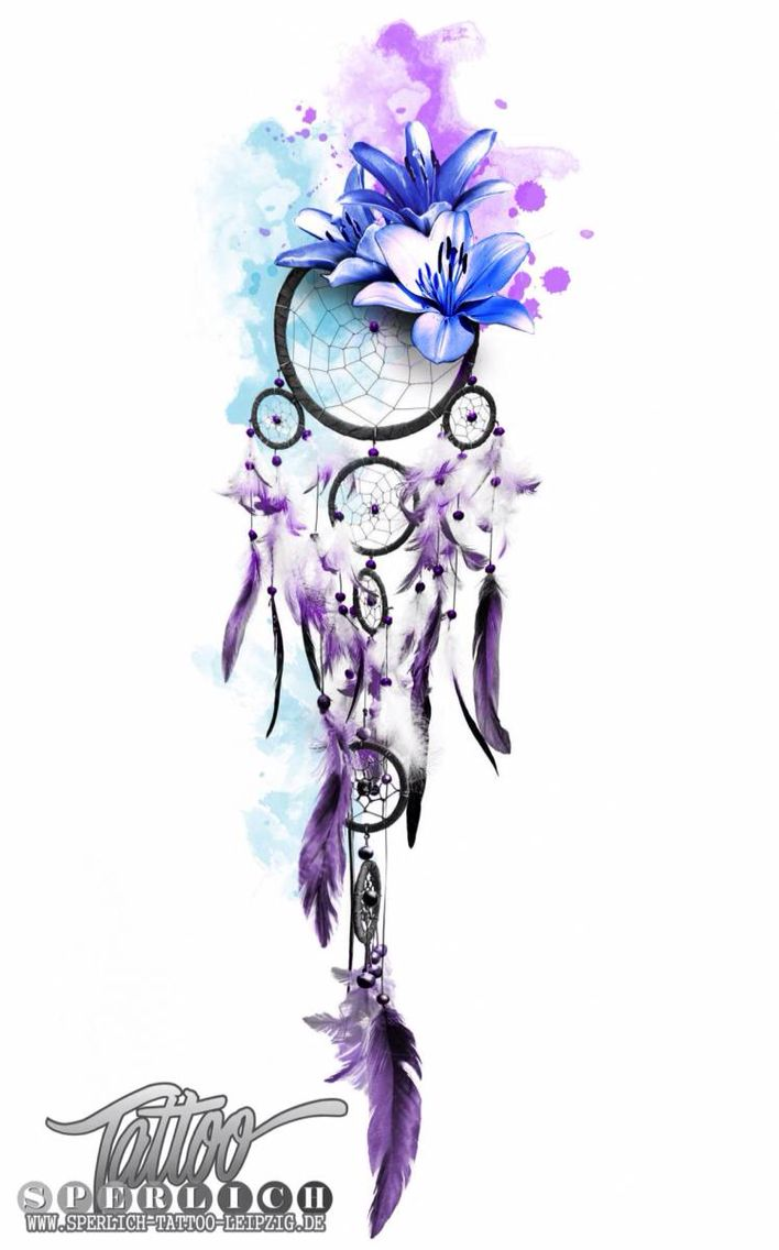 708x1136 Watercolor Dreamcatcher Tattoo Design