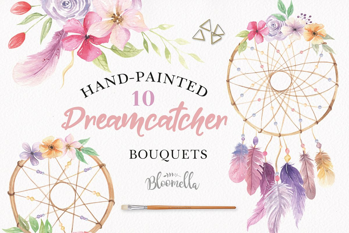 1200x800 Watercolor Dreamcatchers Clipart Bouquets Flowers Florals Feathers