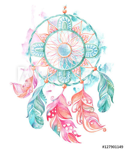417x500 Watercolor Dream Catcher With Feathers