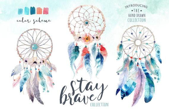 570x379 Watercolor Dreamcatcher Bohemian. Clipart Tribe. Digital Etsy