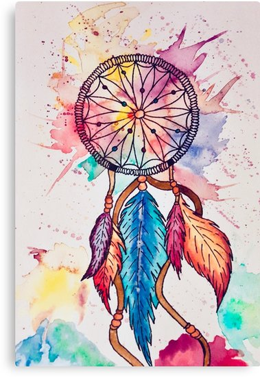 379x550 Dreamcatcher Watercolor Watercolor Dream Catcher Canvas Prints