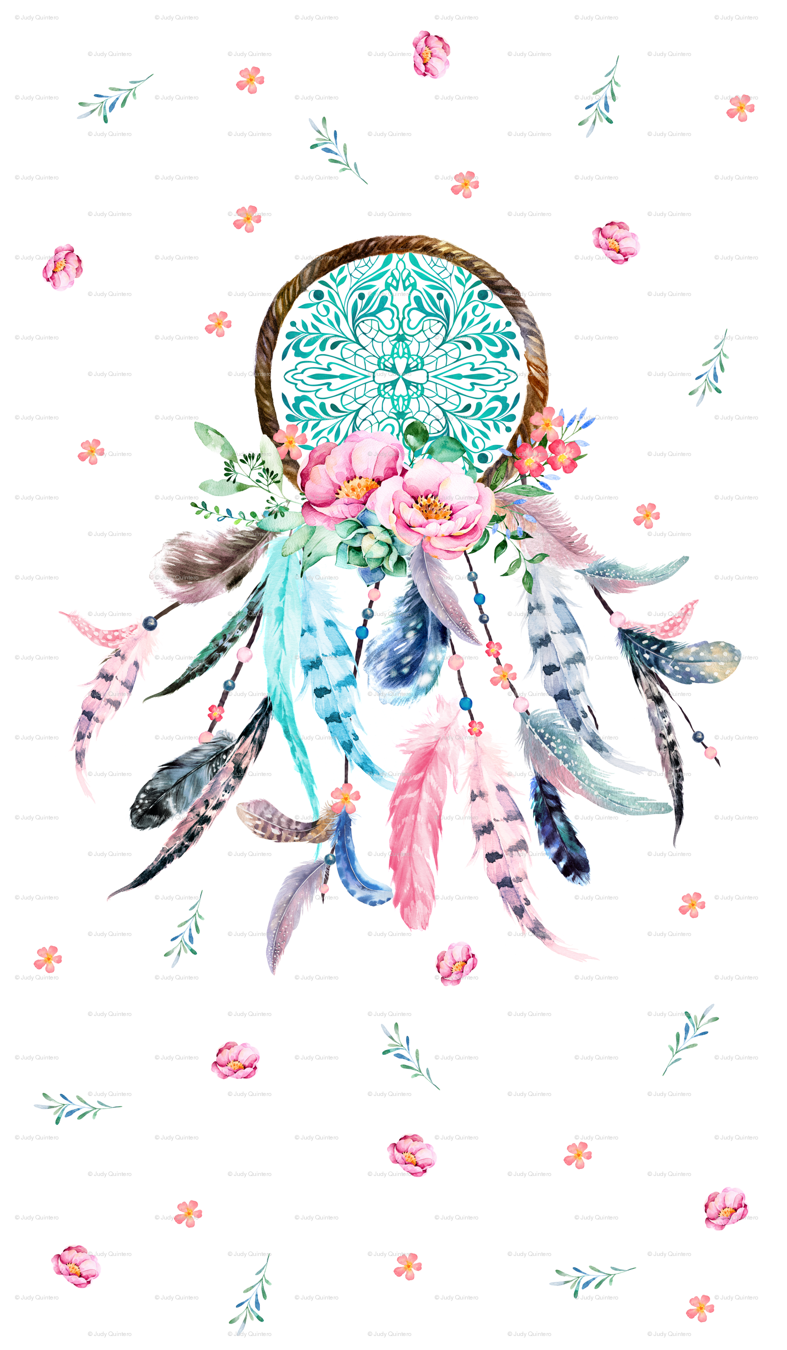 1575x2700 42x72 Pink Amp Aqua Dream Catcher Fabric