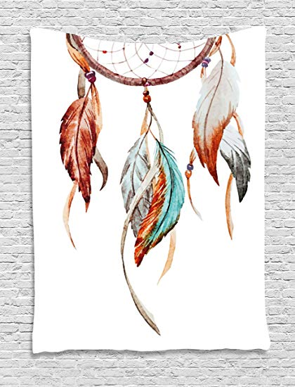 420x550 Ambesonne Feather Tapestry, Watercolor Dream Catcher