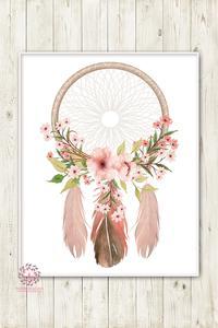 200x300 Boho Nursery Print Wall Art Watercolor Dreamcatcher Floral Feather
