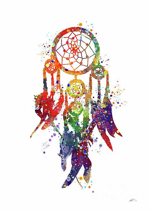 494x700 Dreamcatcher Print Rainbow Boho Poster Watercolor Dreamcatcher