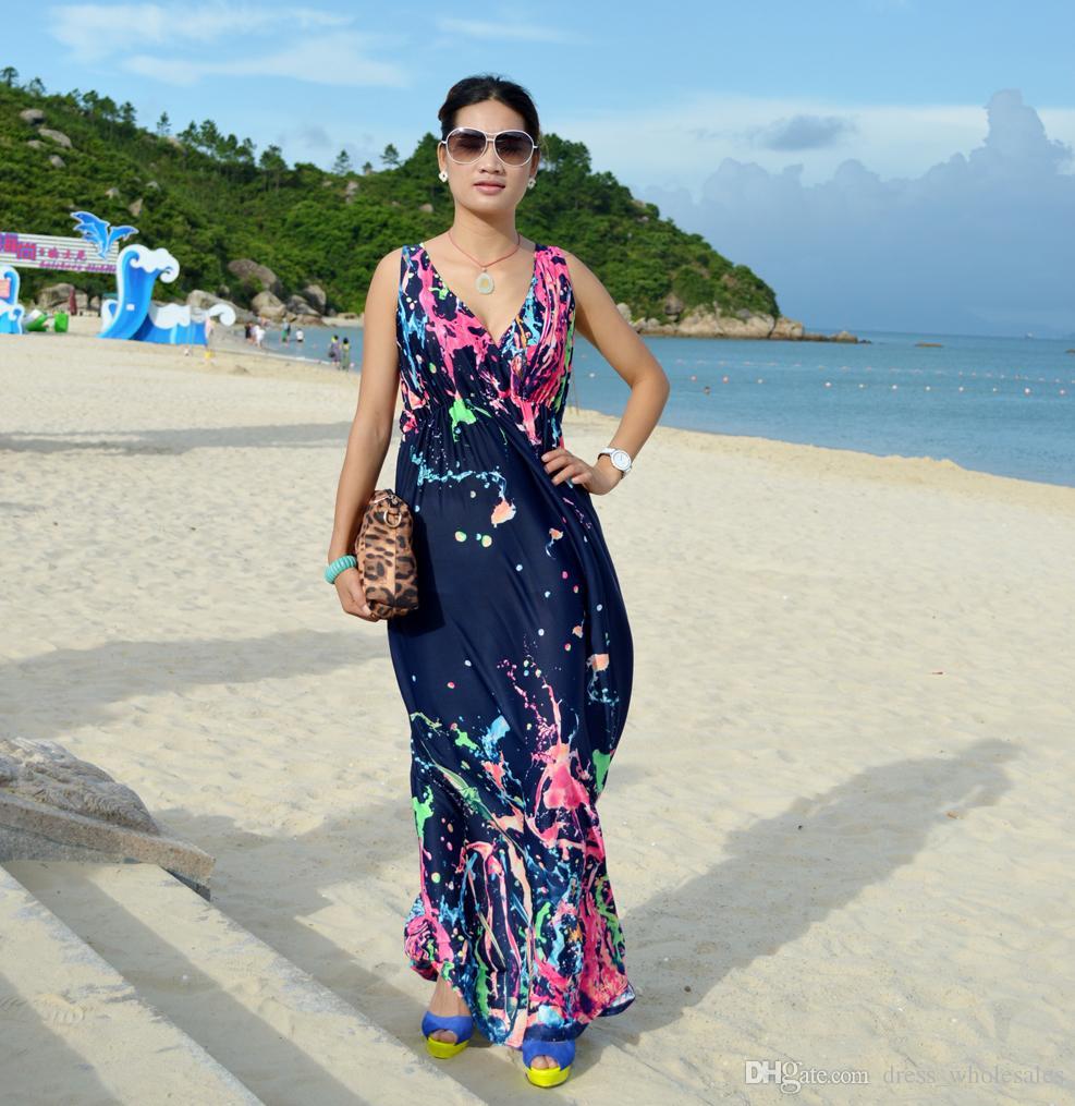 987x1015 2015 New Boho Dress To Party Watercolor Women Dress Bohemian Long
