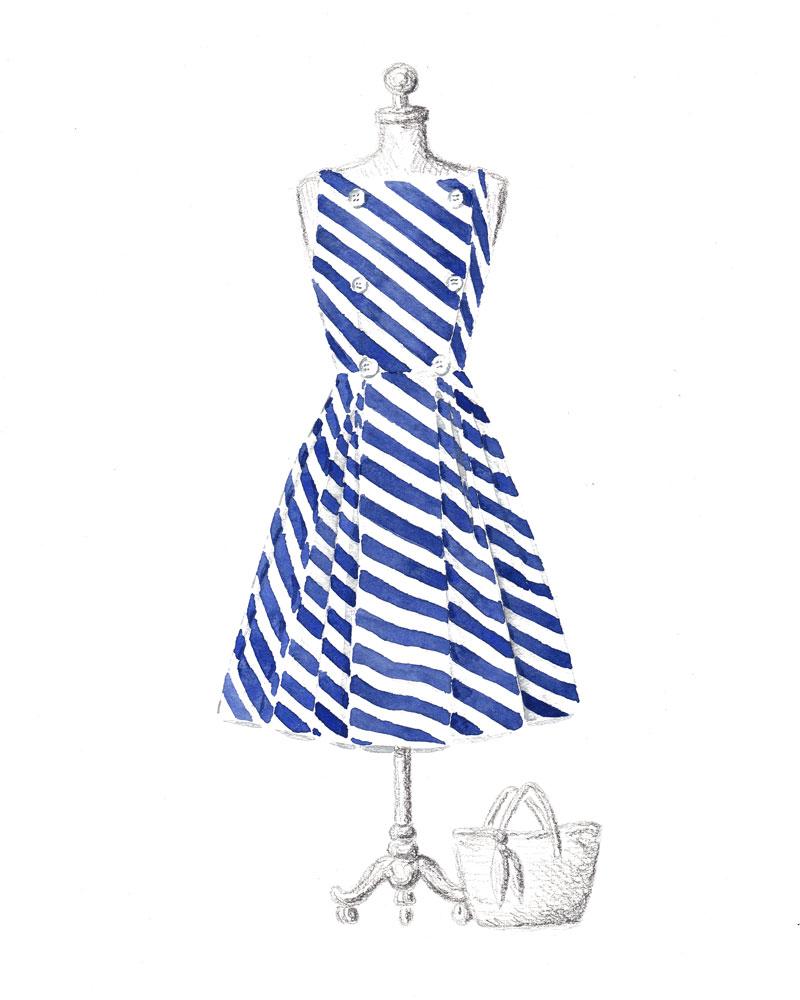 800x1000 Original 8x10 Nautical Blue Amp White Striped Dress Watercolor