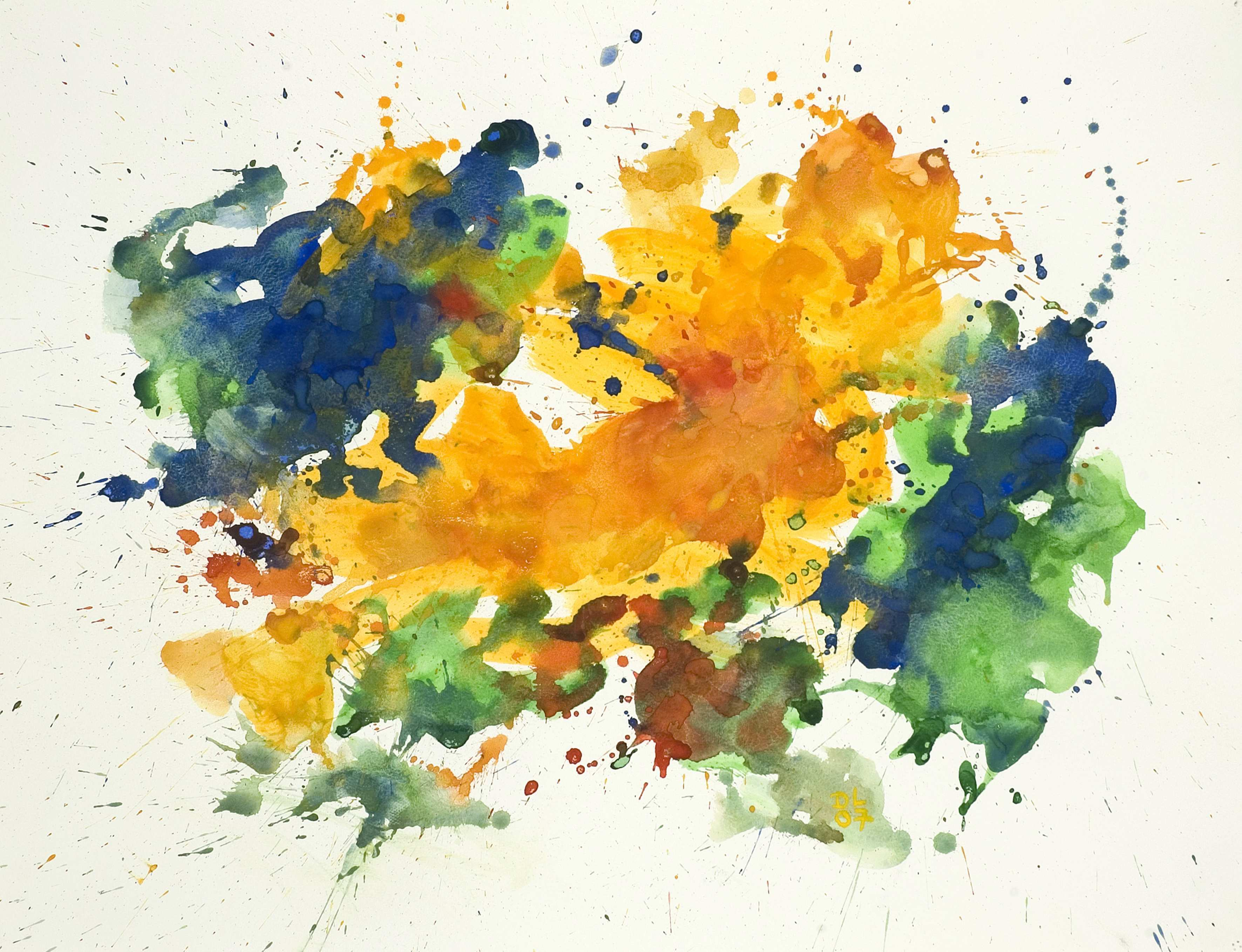 3543x2717 Abstract Watercolor Painting New Yellow Amp Green Abstract