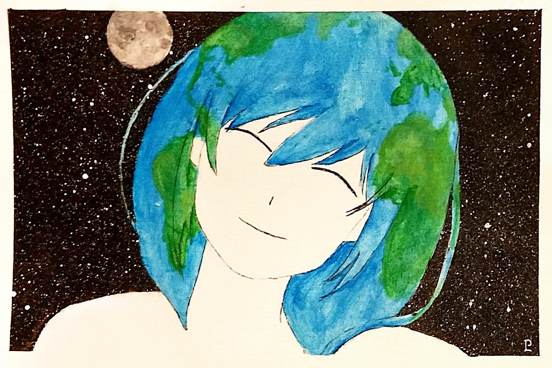 3000x2000 My Watercolor Earth Chan! Earthchan
