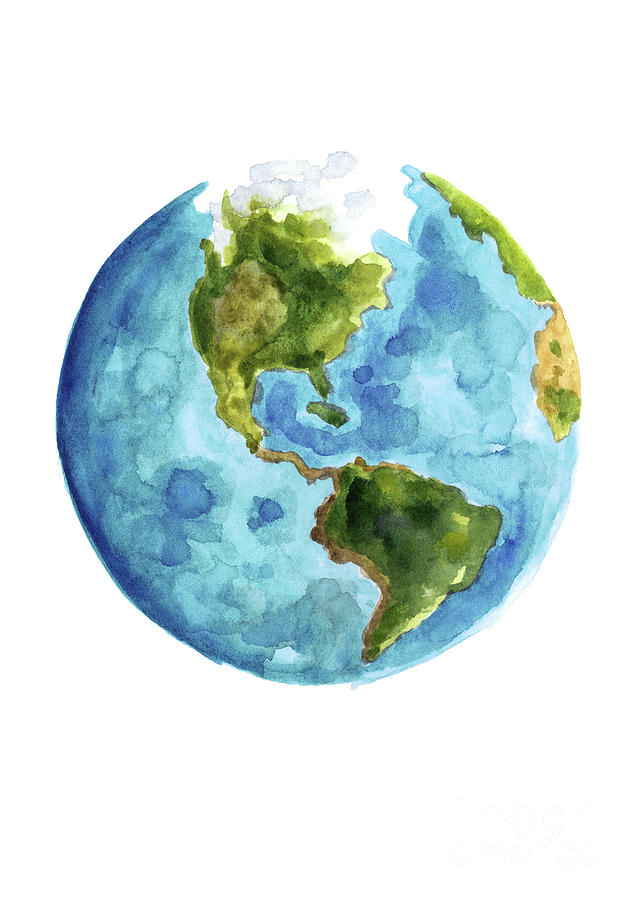 636x900 Planet Earth, South America Illustration, Watercolor World Map