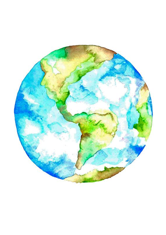 570x806 Planet Earth Watercolour Drawing Art Print In 2018 Our Universe