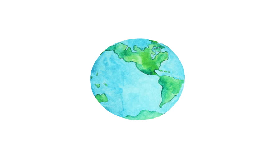 852x480 Watercolor Animation, Planet Earth Over Stock Footage Video (100