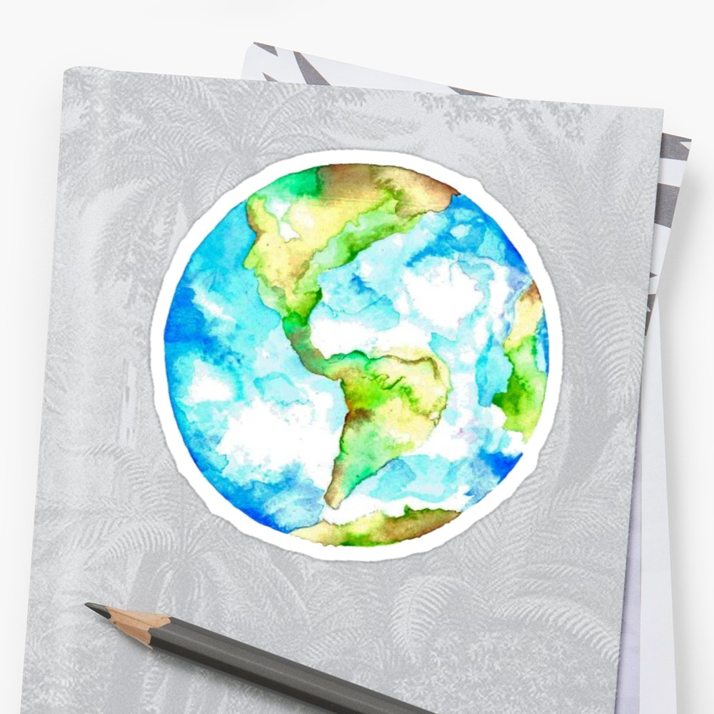 1000x1000 Watercolor Earth Stickers By Amariei Redbubble