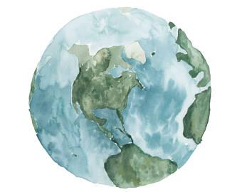 340x270 Watercolor Earth Etsy