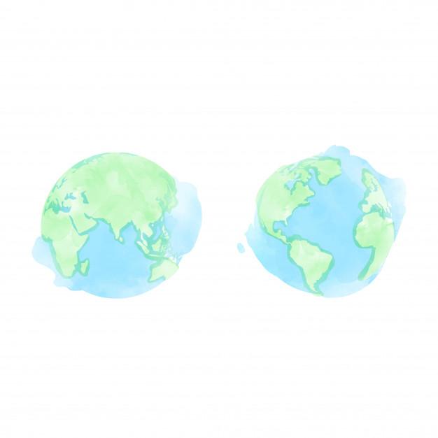626x626 Watercolor Earth Globe Vector Premium Download