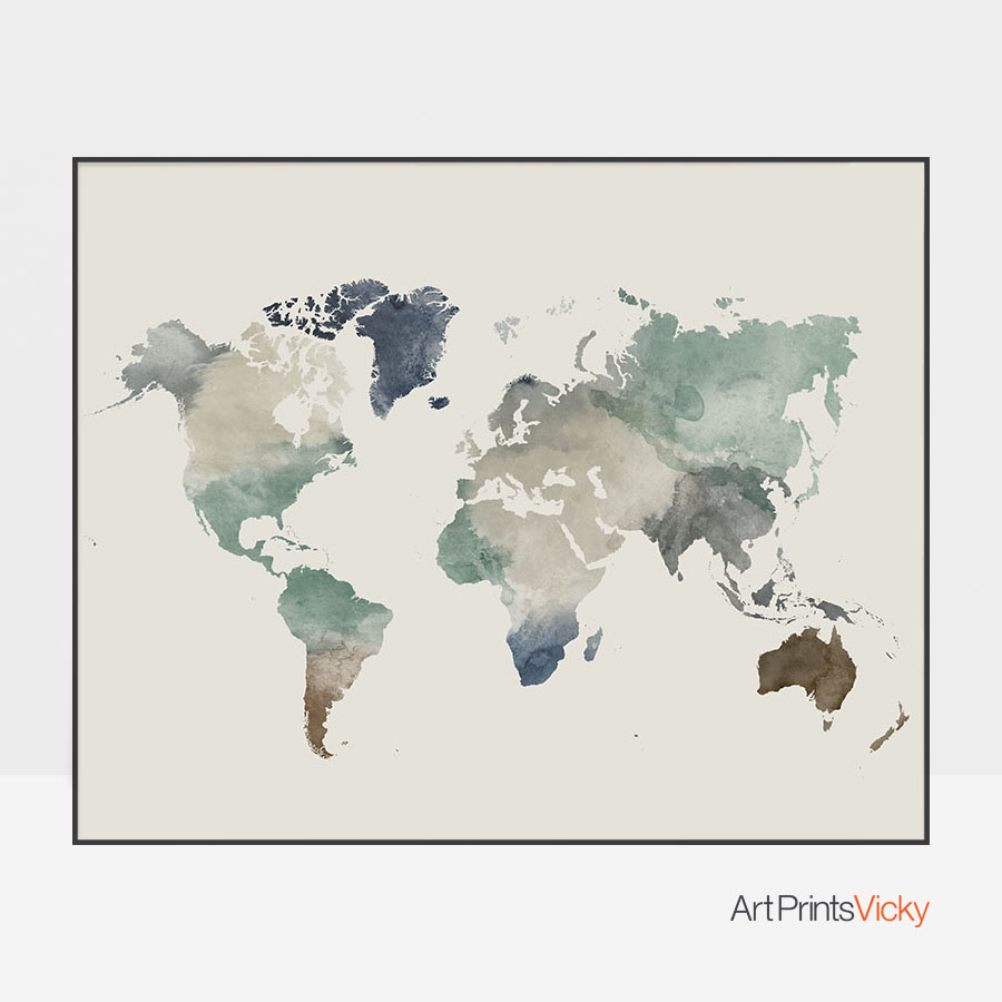900x900 World Map Watercolor Earth Tones 1 Artprintsvicky