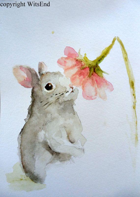 570x801 Bunny Rabbit Painting Original Watercolor Nursery Spring Easter