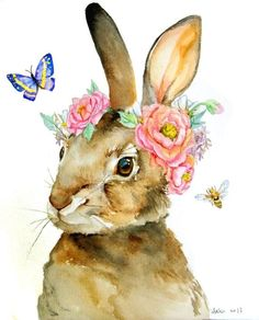 Watercolor Easter Bunny